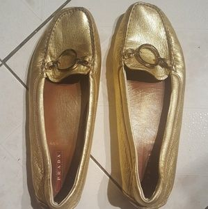 Prada gold leather flats 7.5